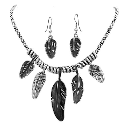 Gypsy Jewels Feather Leaves Statement Short Tribal Look Silver Tone Necklace & Earrings Set (Black)