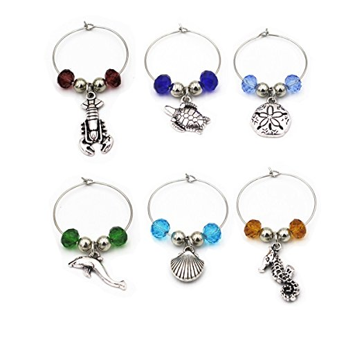 Beach Wine Glass Charm Ring Set(6pcs/set) Marine Theme Drink Markers Gift For Wine Lover New Home Gift (Wine Theme Gifts)