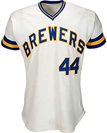715ca437 ... coupon hank aaron game used worn 1976 milwaukee brewers jersey hr 755  brewers loa mlb ce431