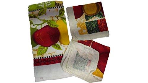 Kitchen Decor - Towel Linen Set of 6 Pieces Fruit Themed Design - Kitchen Towel 2 Potholders 2 Scrubber Dishcloths 1 Oven Mitt - Linen Apple Pear Set - Oven Mitts by TopNotch Outlet (Image #2)