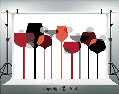 Wine Photography Backdrops Stylized Abstract Wine Glasses Silhouettes with Dots Alcohol Drink Modern Artistic Decorative,Birthday Party Background Customized Microfiber Photo Studio Props,7x5ft,Red Gr