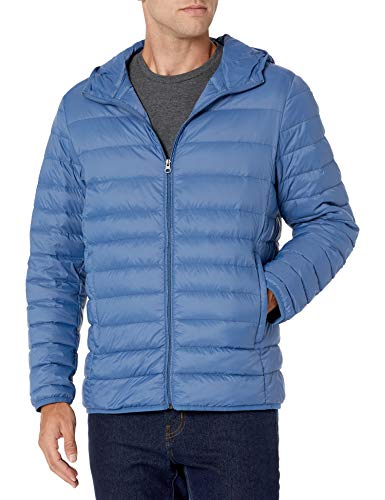 Amazon Essentials Men's Standard Lightweight Water-Resistant Packable Hooded Down Jacket