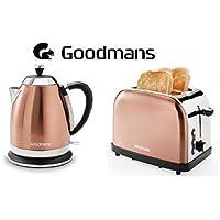 Goodmans Copper Diamond Kettle 1.8L 3KW & Matching 2 Slice Toaster Set Luxury