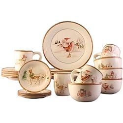 American Atelier Christmas Twig 20 Piece Dinnerware Set, Cream