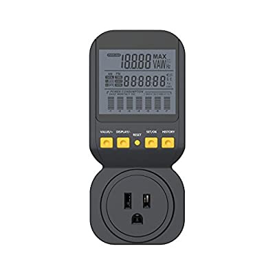 Spartan Power Electricity Usage Monitor Meter 15A, 1800 Watt Maximum SP-PM120