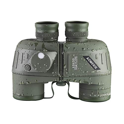 AOMEKIE Marine Binoculars for Adults 10x50 Waterproof Binoculars with Rangefinder Compass BAK4 Prism FMC Lens for Birdwatching Hunting Boating