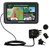 International AC Home Wall Charger suitable for the Garmin Nuvi 2455 2475LT 2495LMT 2455LMT - 10W Charge supports wall outlets and voltages worldwide - Uses Gomadic Brand TipExchange