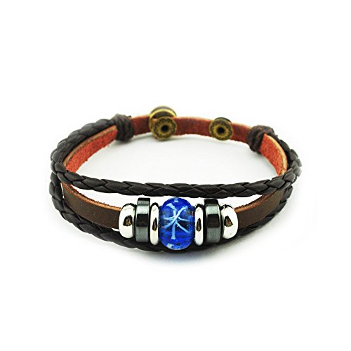 Snake Eyes Costumes Replica (The November Nocturne Ancient Handmade Style Blue Chamilia Bead Button Adjustable Brown Leather Bracelet)