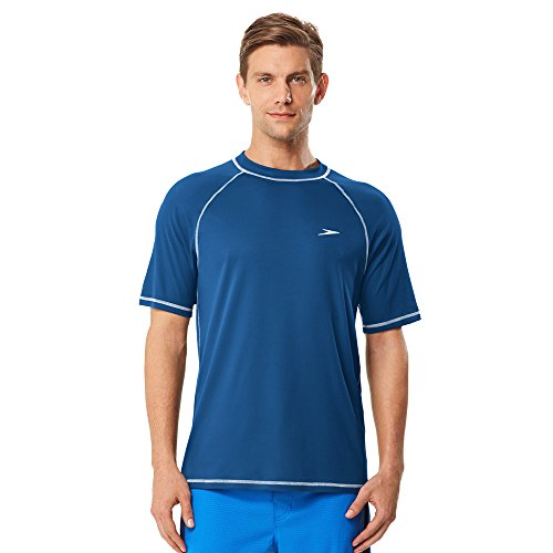 Speedo Men's Easy Short Sleeve Swim Tee, Classic Blue, X-Large