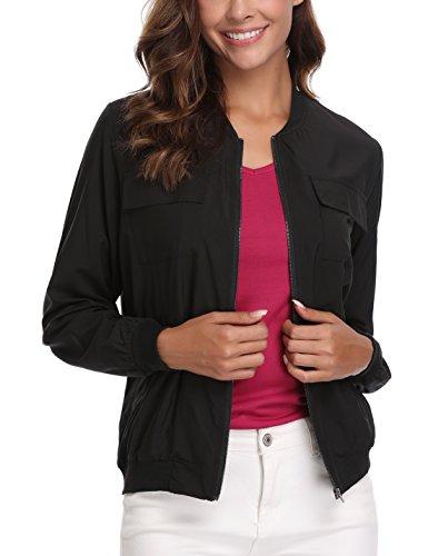 MISS MOLY Womens Lightweight Multi-Pocket Zip up Jackets Windbreaker Bomber Outwear Warm-Keeping Coat ()