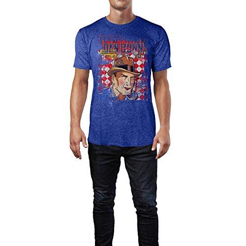 SINUS ART® Dan Dunn Herren T-Shirts stilvolles blaues Cooles Fun Shirt mit tollen Aufdruck
