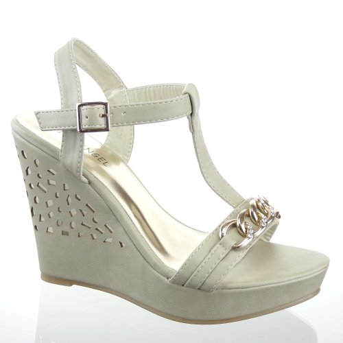 Kickly - damen Mode Schuhe Sandalen Pumpe Strass Schuhabsatz Keilabsatz high heel - Beige T 39 - UK 5.5