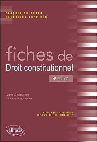 Livres gratuits en ligne Fiches de Droit Constitutionnel Rappels de Cours & Exercices Corrigés pdf, epub ebook