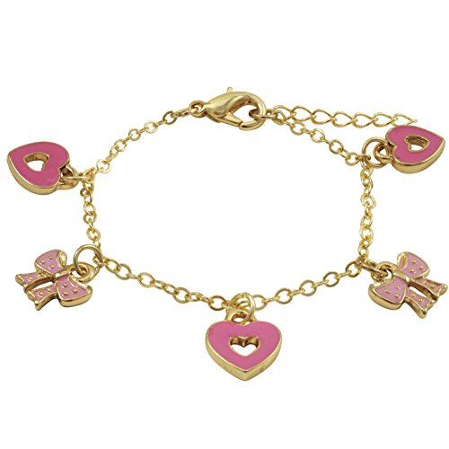 Ivy and Max Gold Finish Pink Enamel Heart Bow Girls Charm Bracelet (5