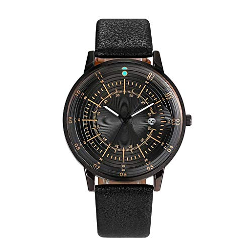 Pengy Unisex Business Watch Simple Multi Scale Dial Calendar Belt Watch Men's&Woman's Leather Band Wrist Watch - Louis Vuitton Brown Dial