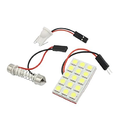 Amazon.com: eDealMax auto auto Blanco 5050 SMD 15 LED lámpara de luz-Dome w adaptador de Adorno T10: Automotive