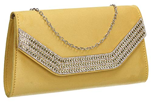 Bag Faux Ladies Harper Diamante Clutch Womens SWANKYSWANS Yellow Suede Ha0wOO