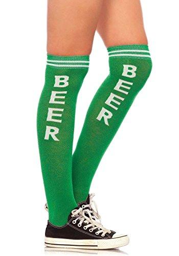Green Womens Socks (Leg Avenue Women's Beer Time Athletic Socks, Green/White, ONE SIZE)
