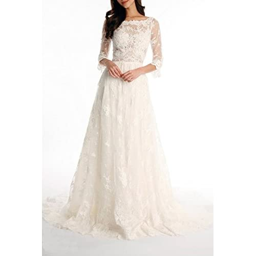 On Sale Tsbridal Lace Wedding Dress 2017 3 4 Sleeves