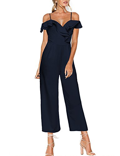 Luyeess Women's Navy Blue Straps Off Shoulder Ruffled Sweetheart Jumpsuit Wide Leg Pants Long Romper S(US 4-6)
