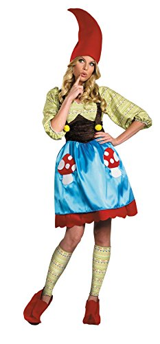 UHC Women's Comical Ms. Gnome Colorful Adults Theme Party Halloween Costume, S (4-6) (Ms Gnome Deluxe Adult Costume)