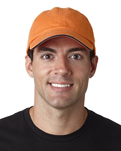 Ultraclub Classic Cut Brushed Cotton Twill Unconstructed Sandwich Cap 8112 -Tangerine/ N One