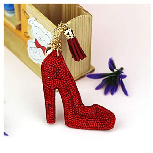 Charming Princess Girls Key Ring with Full Diamond High Heels Shoes Tassel Keychain Key Ring Ornament for Women Lady's Bag Pendant (Red, 6 inch)