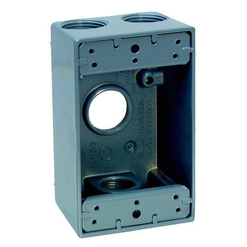 Sigma Electric 14253 3/4-Inch 4 Hole 1-Gang Box, Grey