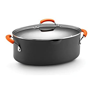 Rachael Ray Hard Anodized II Nonstick Dishwasher Safe 8-Quart Covered Oval Pasta Pot, Orange