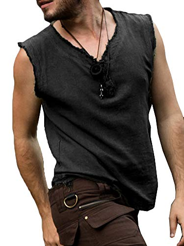 Mens Medieval Pirate Tank Tops Renaissance Viking Sleeveless T Shirt Scottish Cosplay Costume Top Black -