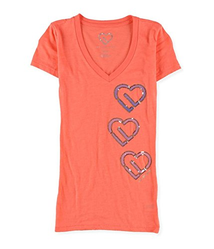 (Aeropostale Womens Sequin Hearts Embellished T-Shirt 831 L)