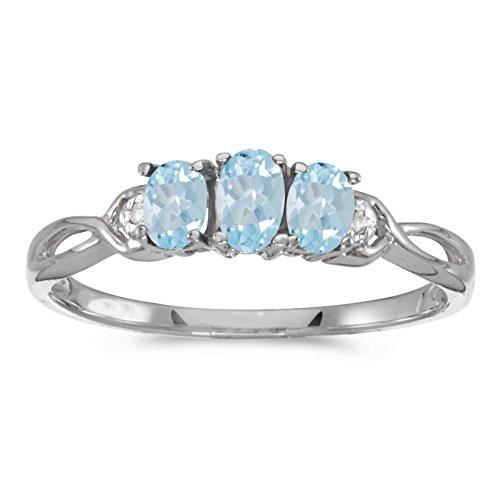 0.41 CTW ct 10k Gold Oval Aqua Aquamarine Diamond 3 Three Stone Infinity Promise Engagement Fashion Ring - White-gold, Size 8