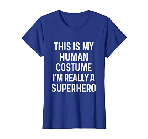 Womens Funny Superhero Costume Shirt Halloween Kids Adult Men Women XL Royal Blue -