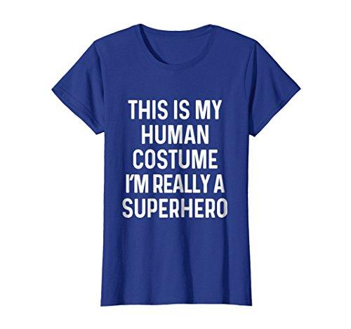 Womens Funny Superhero Costume Shirt Halloween Kids Adult Men Women Medium Royal Blue for $<!--$19.99-->