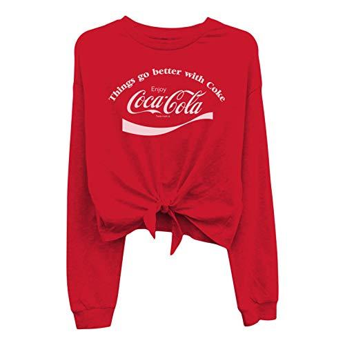 Ladies Coca Cola Fashion Shirt - Coke Classic Logo Tie Front Long Sleeve Tee (Red Logo, Small)