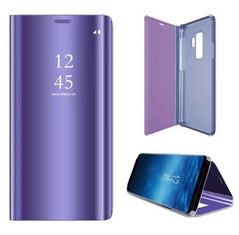 cheaper f8b28 77ee5 Luxury Clear Mirror Flip Cover Case for Samsung Galaxy s8 S8 Plus s6 S7  Edge Note 8 Smart View Stand Leather Phone Cases Fundas (Purple, for S8)