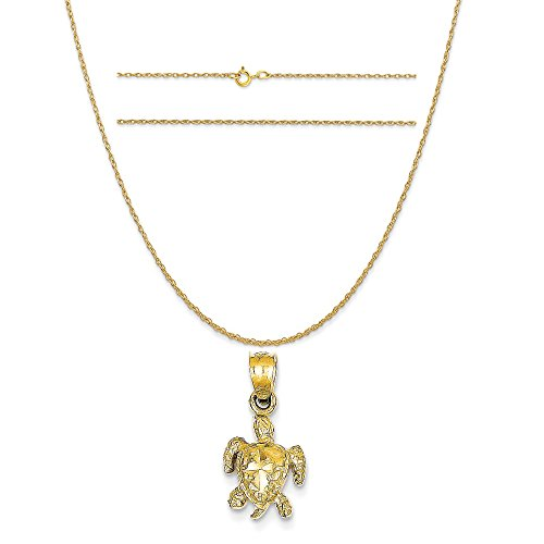 14k Yellow Gold Turtle Pendant on a 14K Yellow Gold Carded Rope Chain Necklace, 18