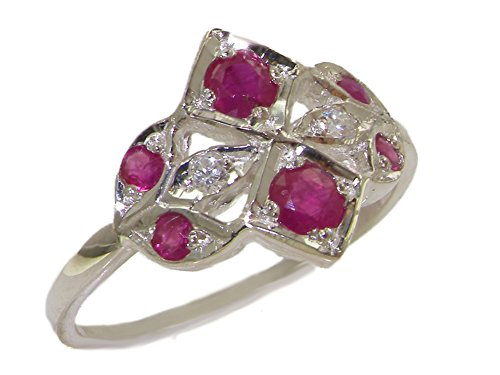 925 Sterling Silver Natural Ruby and Diamond Womens Cluster Ring - Sizes 4 to 12 Available