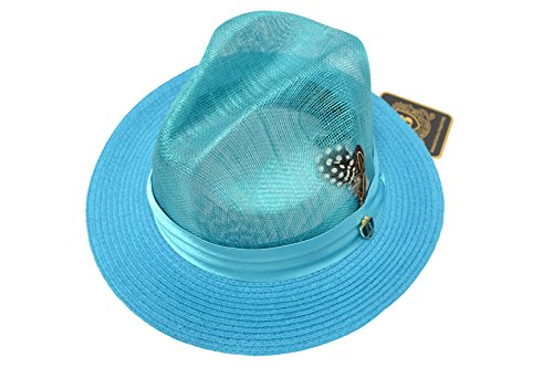 Men's New Bruno Capelo Turquoise Sinamay and Poly Braid Fedora SP-110 (New Braid Fedora)