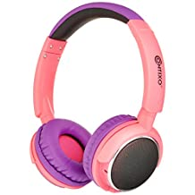Contixo Kid Safe 85DB Over The Ear Wireless Bluetooth Led Headphone, FM Stereo Radio, Audio Input, (Pink)