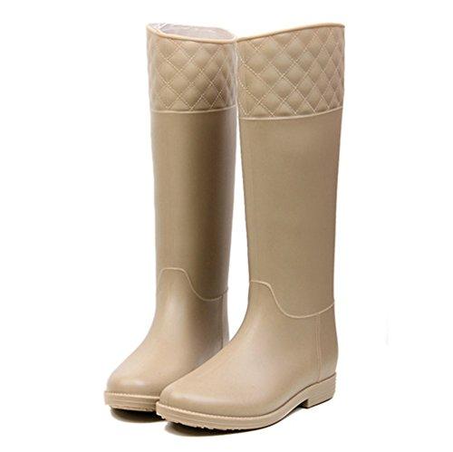 Rain Women's Wellies Tall Flat Boots Festival Wellington Khaki SAGUARO wqnAUYxU