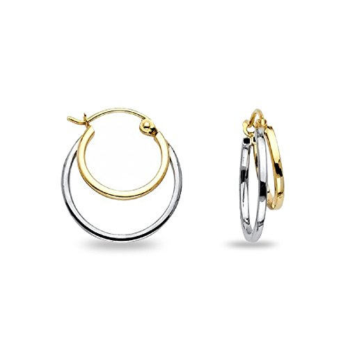 Double Hoop Earrings 14k Yellow White Gold Plain Round Polished French Lock Two Tone 16 x 4 mm (White Hoop Gold Double)