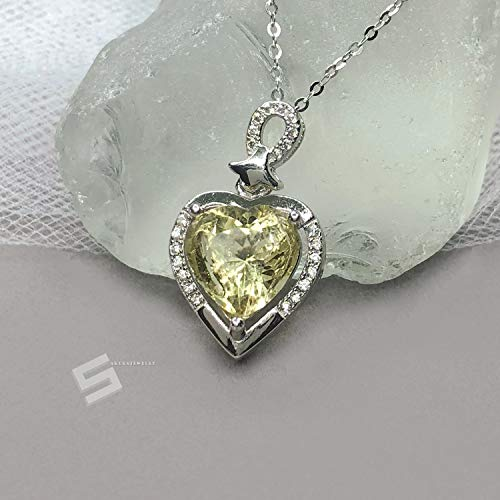 (Natural Heliodor And Steling Silver Necklace, 2.4CTW. Heart Shape Untreated Golden Beryl In 925 Silver Necklace, Earth Mine Beryl Necklace)