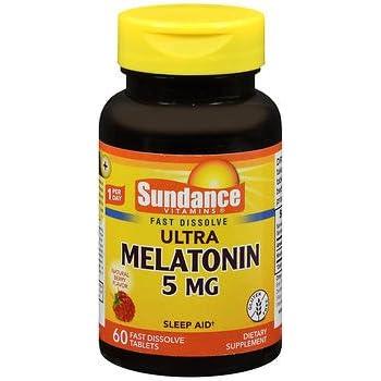 Sundance Vitamins Melatonin 5 mg Natural Berry Flavor - 60 Tablets, Pack of 5