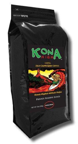 Kona High 100% Kona Coffee Private Reserve Estate High Grown Whole Bean. 12oz Bag