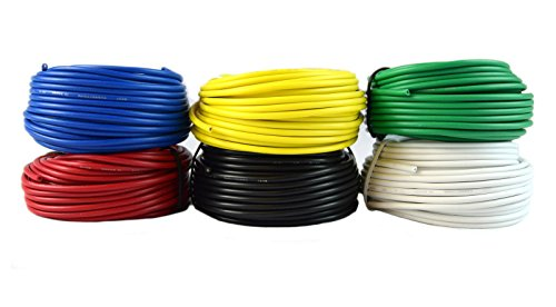 18 GA Single Conductor Stranded Remote Primary Wire 12V 6 Rolls 25 Feet Each 150' Total 18 Gauge Stranded Single Conductor