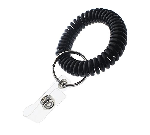 5 Pack Ultimate Wrist Coil Camper Keychains for Work and Play - Premium Elastic Bungee Badge Holder & Key Chain Ring (One Size Fits All) by Specialist ID (Black) ()