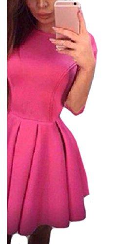 donne Coolred Del Rossa Midi Sexy Bicchierino Vestito manicotto Partito Rosa rrvqXw