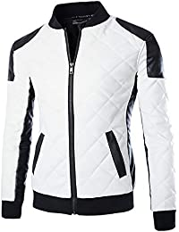Men's latticed Baseball Bomber Jacket Slim Fit Coat White Black