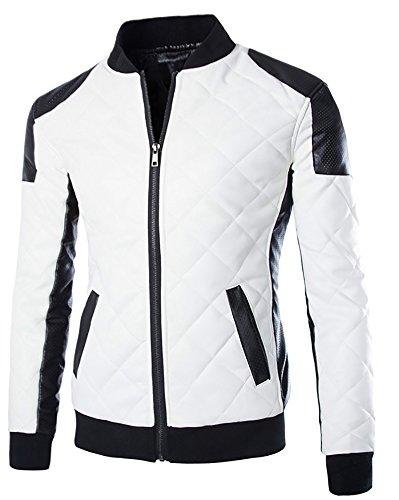 Cloud Style Men's latticed Baseball Bomber Jacket Slim Fit Coat, Large, White